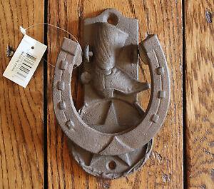 Image Is Loading Rustic Horseshoe Boot Front Door Knocker Heavy Cast