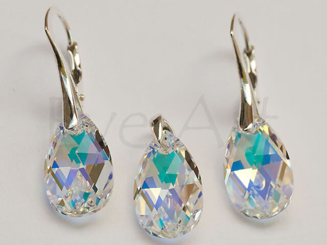 PEAR 16 GENUINE SWAROVSKI CRYSTAL SET (earrings + pendant)  - STERLING SILVER