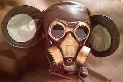 """""""The Post Apocalyptic  Mickey """"  gas mask LARP  burning Steampunk Leather man"""