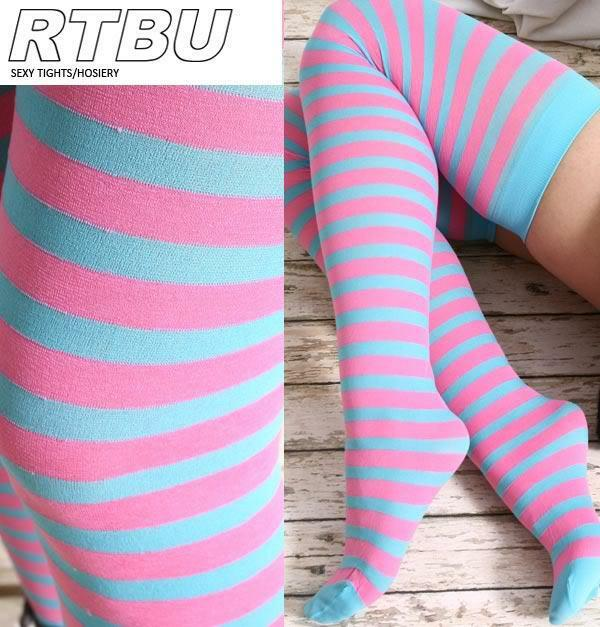 Decora Candy Fairy Kei Punk EMO Neon Pink +Aqua Mint Stripe Thigh Hi Stockings