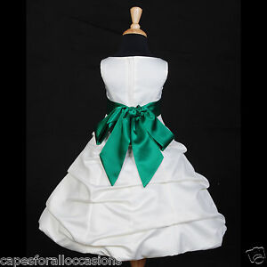 IVORY-GREEN-FLOWER-GIRL-DRESS-WEDDING-BRIDESMAID-2-4-4T-5-5T-6-6X-8-10-12-14-16