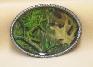 Belt-Buckle-Green-Camouflage-Oval-Pewter-with-Rope-Edges