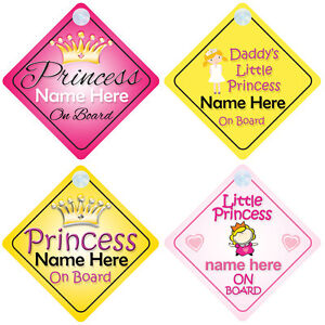 Princess On Board Personalised Girl BabyChild Car Sign Choice - Car sign and name
