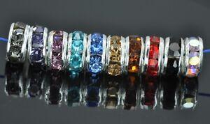 20x-6mm-Cristales-Tipo-Piedreria-con-bano-de-Plata-Rondelle-Espaciador