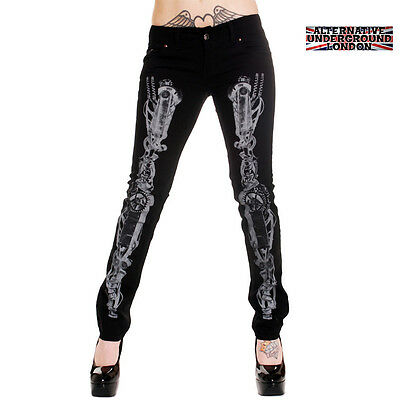 SKINNY STRETCH JEAN-STEAMPUNK SKELETON PUNK HORROR