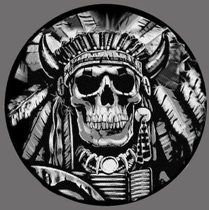 INDIAN CHIEF SKULL EMBROIDERED 4 inch OVAL PATCH