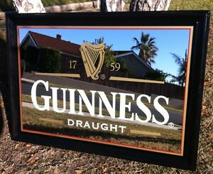 Large Guinness Draught Beer Back Bar Mirror Pub