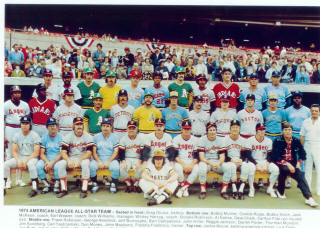 1974 ALL STAR TEAM AMERICAN LEAGUE 8X10 PHOTO KALINE ROBINSON MUNSON BASEBALL