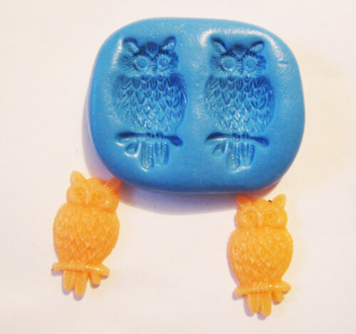 Owls Silicone Push Mold Polymer clay Resin Miniature plaster fondant wax mould