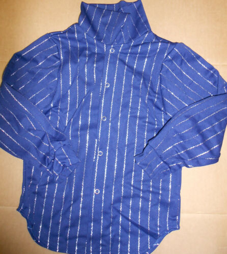 NWT Longsleeve Snapfront Dance shirt Silver stripes child//Men Unisex Colors