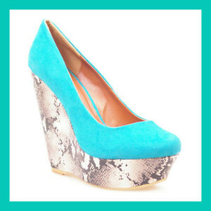 Ladies Turquoise Suede Shoes