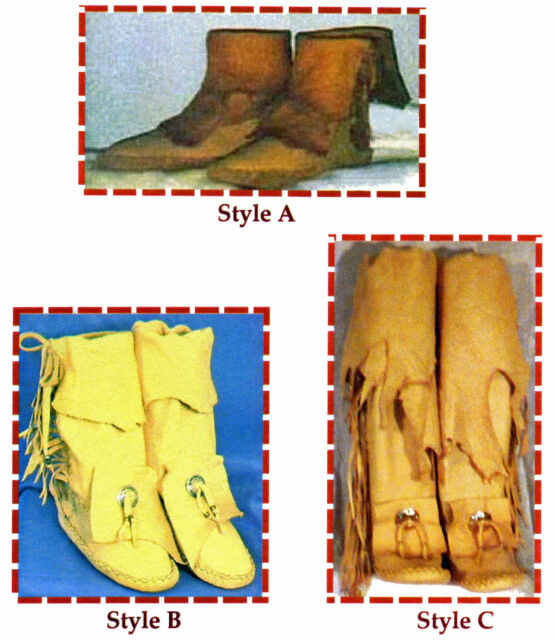Native American Yaqui Indian Moccasin Sewing Pattern in 3 Traditional Styles