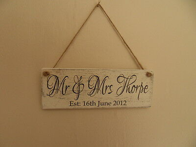 Shabby Personalised Est. Name plaque, chic and unique