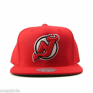 New-NHL-New-Jersey-Devils-SNAPBACK-MITCHELL-NESS-One-Tone-RED-Hat