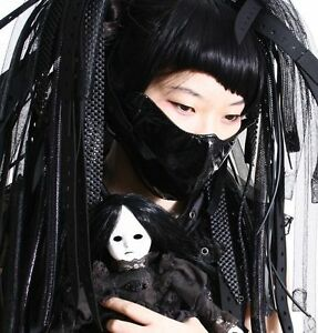Guro-Lolita-Gothic-Patent-Black-Ghost-Devil-Mask-Medical-Hostipital-Nurse-Doctor