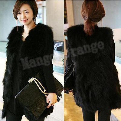 Women Winter Warm Black Faux Fur Long Vest Jacket Coat Outwear