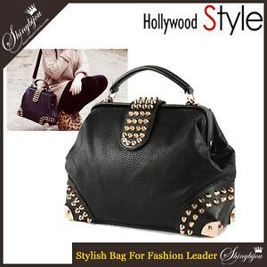 Hollywood-Style-Gorgeous-Handbag-Studded-Rivet-Tote-Bag-Shoulder-Bag-Purse-Black