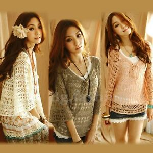 BOHO-Crochet-V-Neck-Kimono-Sleeve-Top-Knit-Poncho-Sweater-Loose-Batwing-Pullover
