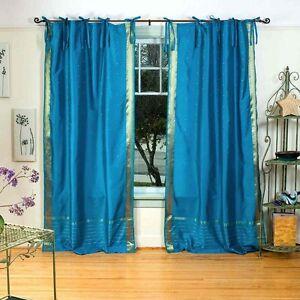 Turquoise-Tie-Top-Sari-Sheer-Curtain-Drape-Panel-84