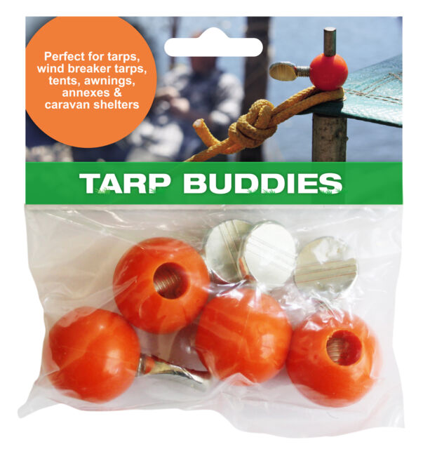 TARP BUDDIES. 3 sets of pole clamps. Stop attending to your tarp whilst camping!