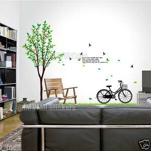 "Bike Wall Art 180 cm tall tree & bike wall art decal & quote ""you mean the world"