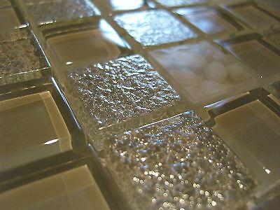 Glasmosaik Mosaik Fliesen Klarglas Perlmutt metall-effekt weiss kunstharz
