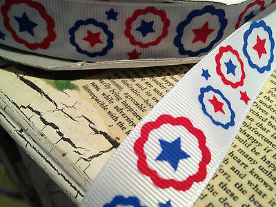 "7/8"" PATRIOTIC RED WHITE and BLUE  Grosgrain RIBBON sold by the yard"
