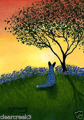 Australian Cattle Dog Blue Heeler Folk Art PRINT Todd Young TEXAS BLUEBONNETS