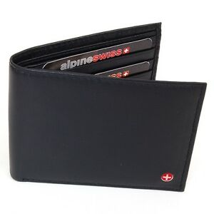 Mens-Alpine-Swiss-Leather-Wallet-Bifold-Trifold-Hybrid-Foldout-ID-Euro-Traveler