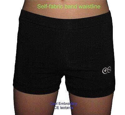 Quality Black Cotton lycra gymnastics dance aerobics girl shorts by CE leotards