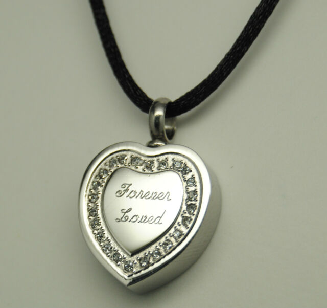 FOREVER LOVED CREMATION URN NECKLACE HEART CREMATION JEWELRY MEMORIAL KEEPSAKE
