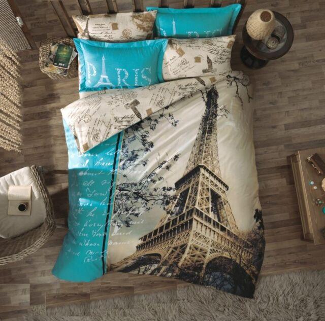 100%Cotton 4-pc PARIS IN AUTUMN Twin Quilt Duvet Cover Bedding Set w/ Extra Case