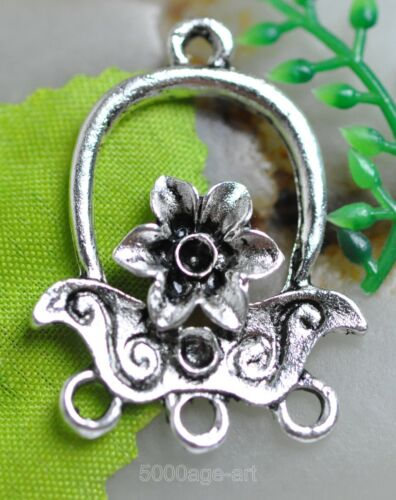 FREE SHIP 10pcs Tibetan Silver charm flower earring Connectors 30mm A0065