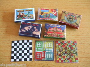 Vintage-board-games-kit-1-12th-scale-dolls-house-toys-miniature-UK-SELLER