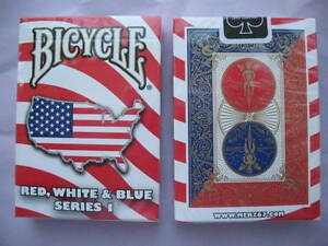 Rare-Bicycle-Red-White-amp-Blue-Deck-Series-1-Playing-Cards-Magic-USA-Map-Design
