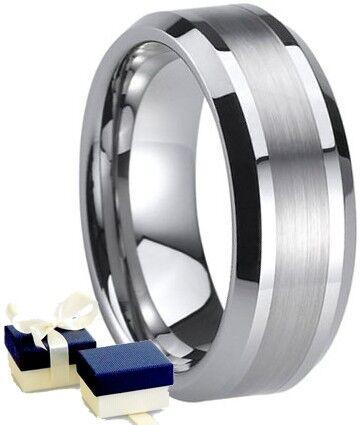 New Boxed 8mm Mens Titanium Wedding Engagement Band Ring - Size U