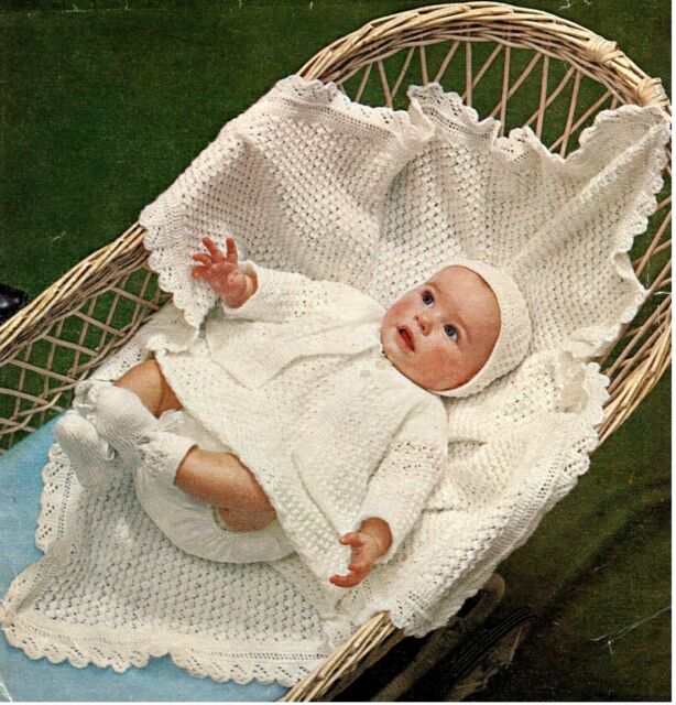 Knitting Pattern Baby Girl  vintage layette with dress- 4 ply wool- gorgeous