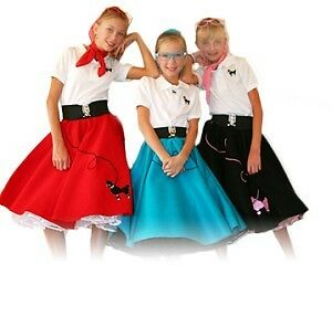 3-pc-Girls-50-039-s-POODLE-SKIRT-outfit-7-9-Lg-CHILD-Choose-Skirt-Top-Scarf