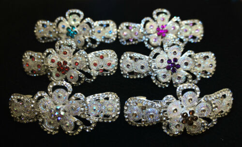 Stunning Diamonte Flower Design Hair Clip In Blue Gold Clear Pink Purple Red 227