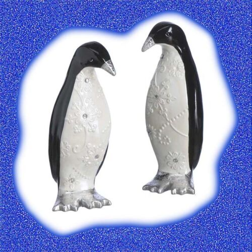 BLACK PENGUIN ceramic Figurines with Snowflake Pattern, set of 2, NEW Christmas