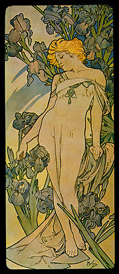 Iris Blond Fashion Girl with Flowers By Alphonse Mucha Vintage Poster FREE S/H