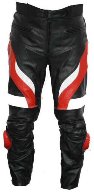 NEW MENS LEATHER MOTORCYCLE PANTS/TROUSERS  WAIST 32 TO 42 INCH