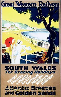 Vintage GWR South Wales Railway  Poster A3 / A2  Reprint