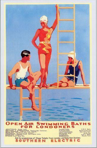 1930's Southern Railway London's Outside Swimming Baths Poster A3 Print