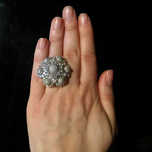 12 Carats Diamonds Large Cocktail Ring Custom Made Floral Motif 14k White Gold