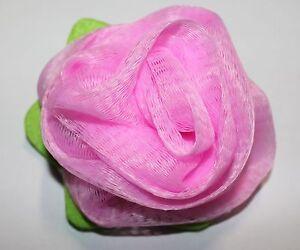 light pink flower bud bath mesh scrub sponge ebay. Black Bedroom Furniture Sets. Home Design Ideas