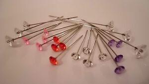 Diamante-Florist-Wedding-Bridal-Buttonholes-Flower-Head-Pin-Choose-Size-amp-Colour