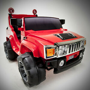 RED 12V BATTERY POWER KIDS RIDE ON HUMMER JEEP W/ BIG WHEELS