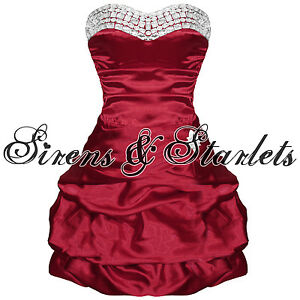 DK-RED-SATIN-STRAPLESS-VTG-80S-PUFF-BALL-JEWEL-PROM-PARTY-EVENING-COCKTAIL-DRESS