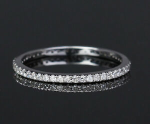 FASHION-Solid-14K-White-Gold-Pave-Diamond-Engagement-Wedding-Eternity-Band-Ring